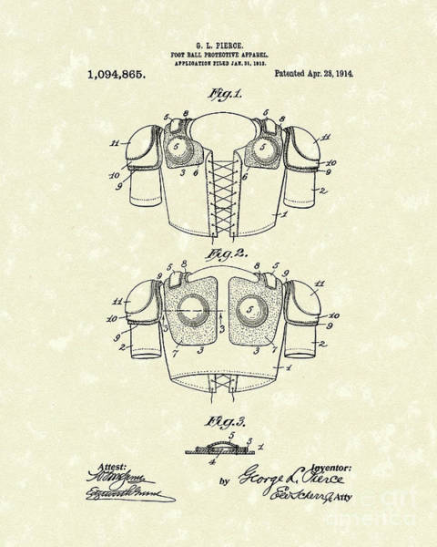 Wall Art - Drawing - Protective Gear 1914 Patent Art by Prior Art Design