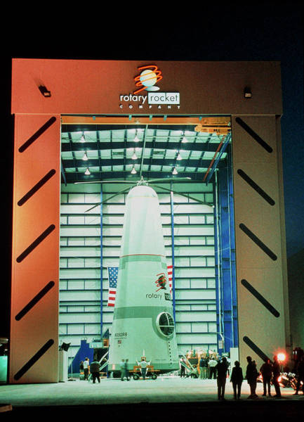 Rotary Photograph - Prototype Roton Rotary Rocket In Hangar by Rotary Rocket Co./science Photo Library