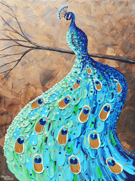Wall Art - Painting - Proud And Graceful Peacock by Christine Bell