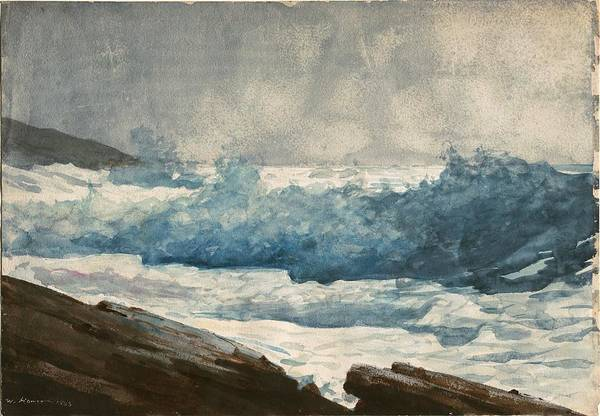 Wall Art - Painting - Prouts Neck Breakers by Winslow Homer