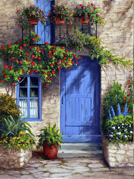 Porch Wall Art - Painting - Provence Blue Door by Barbara Felisky