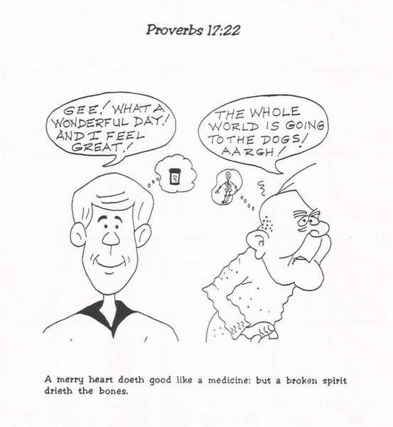 Drawing - Proverbs Proverbs Chapter 17 Verse 22 by Monica C Stovall