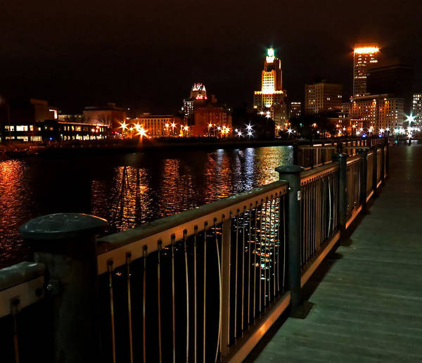 Photograph - Providence Skyline At Night by Nancy De Flon
