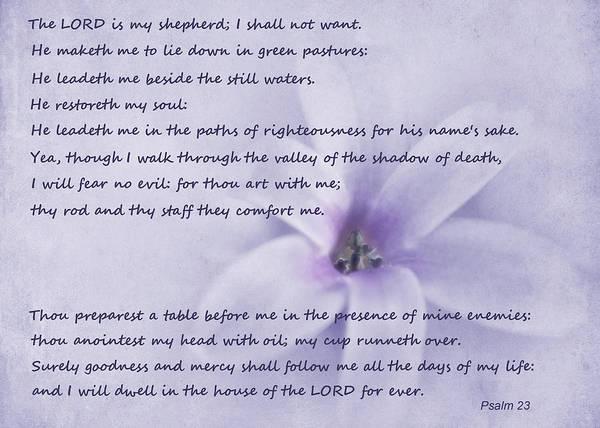 Psalms Photograph - Psalm 23 by David and Carol Kelly