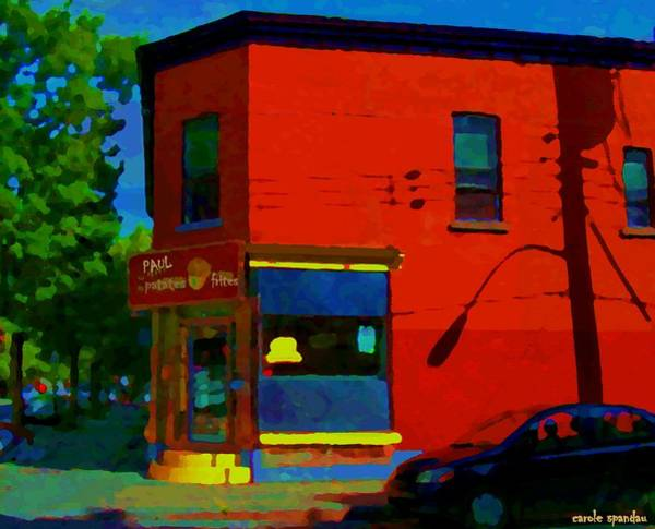 Diners Club Painting - Psc Restaurant Paul Patates Poutine And Comfort Food Montreal Cafe Scene Carole Spandau by Carole Spandau