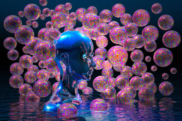 Wall Art - Digital Art - Psychedelic Bubbles by Carol and Mike Werner
