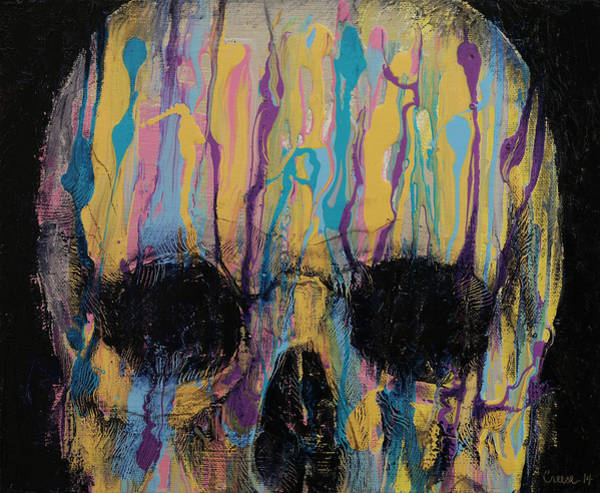 Goth Painting - Psychedelic Skull by Michael Creese