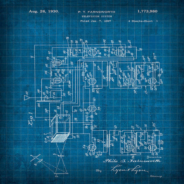 Patent Mixed Media - Pt Farnsworth Television Patent Blueprint Vintage 1927 by Design Turnpike