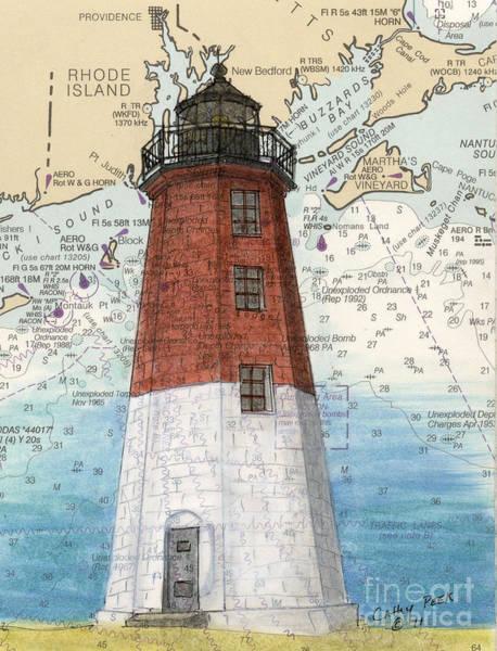 Wall Art - Painting - Pt Judith Lighthouse Ri Cathy Peek Nautical Chart Map Art by Cathy Peek