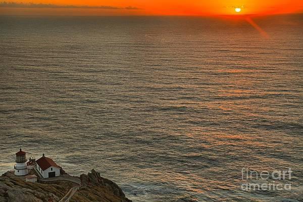 Photograph - Pt Reyes Sunset Lighthouse by Adam Jewell