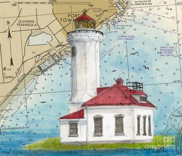 Port Townsend Painting - Pt Wilson Lighthouse Wa Cathy Peek Nautical Chart Map Art by Cathy Peek