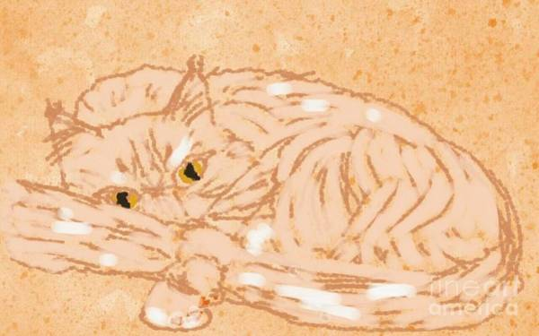Curl Up Painting - ptg   Cameo Cat by Judy Via-Wolff