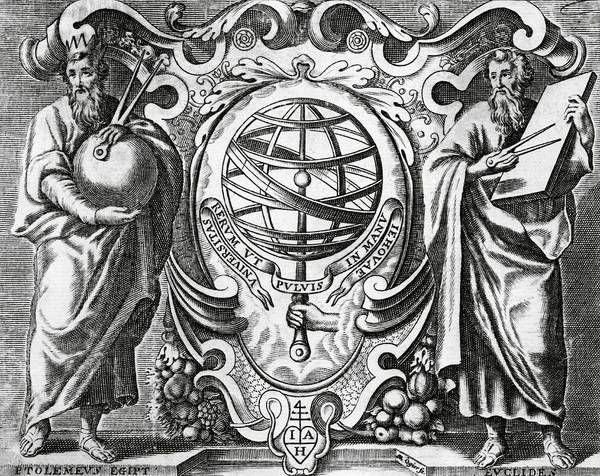 Wall Art - Photograph - Ptolemy And Euclid by Royal Astronomical Society/science Photo Library
