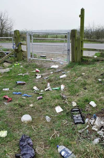 Litter Photograph - Public Bridleway Strewn With Litter by Robert Brook/science Photo Library