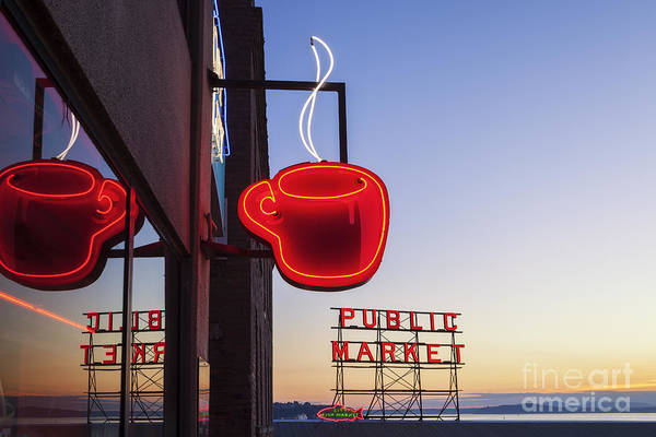 Photograph - Neon Coffee Cup At Seattle Public Market by Bryan Mullennix