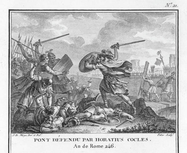 Roman Soldier Drawing - Publius Horatius Cocles, An Army by Mary Evans Picture Library