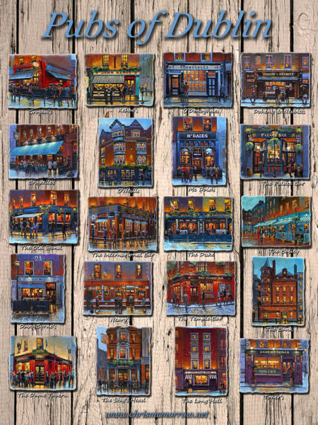 Temple Bar Wall Art - Painting - Pubs Of Dublin Ireland by Chris Mc Morrow