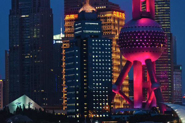 Pudong Skyline Dominated By Oriental Art Print