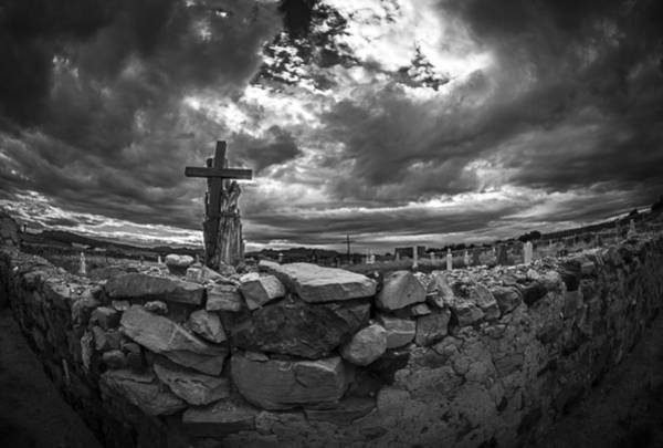 Indian Burial Ground Photograph - Pueblo Cross And The Storm by Cary Leppert