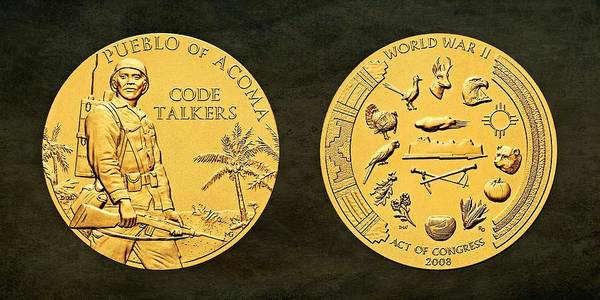 Code Talkers Photograph - Pueblo Of Acoma Tribe Code Talkers Bronze Medal Art by Movie Poster Prints