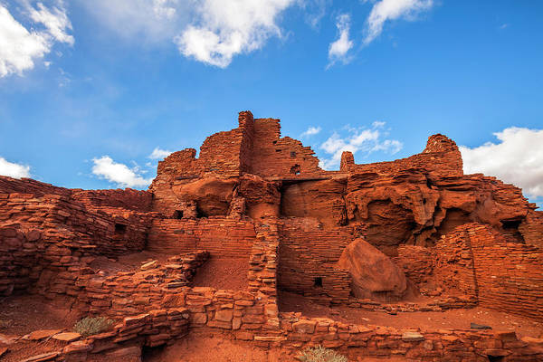 Wupatki Photograph - Pueblo Ruins And Blue Sky by Bob Stefko