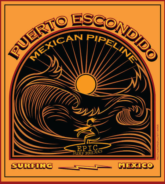 Wall Art - Digital Art - Surfing Puerto Escondido Mexico Mexican Pipeline by Larry Butterworth