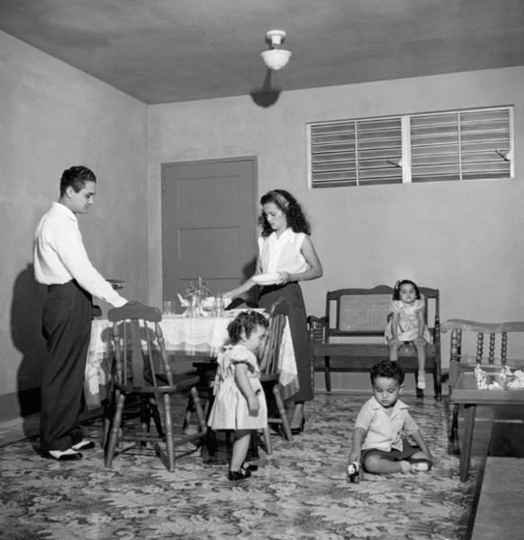 Housing Development Photograph - Puerto Rico Family Dinner by Underwood Archives