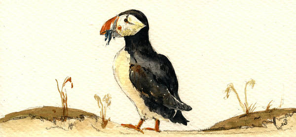 Seabirds Wall Art - Painting - Puffin With Fishes by Juan  Bosco