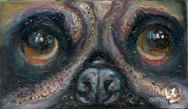 Painting - Pug by Donna Chaasadah