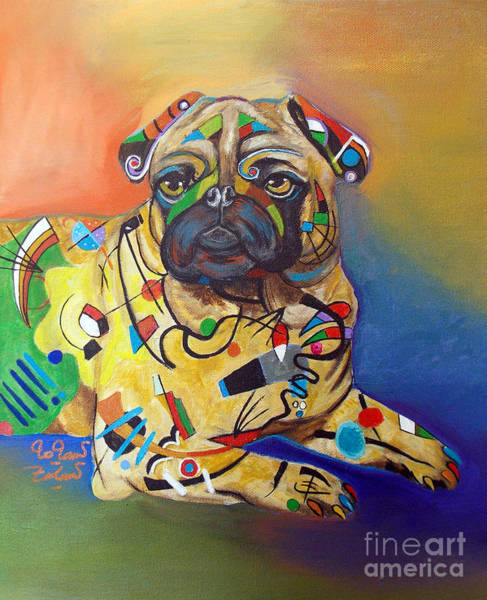 Wall Art - Painting - Pug - Kandinsky by To-Tam Gerwe
