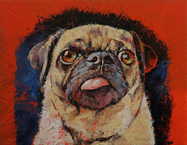 Hund Wall Art - Painting - Pug Portrait by Michael Creese