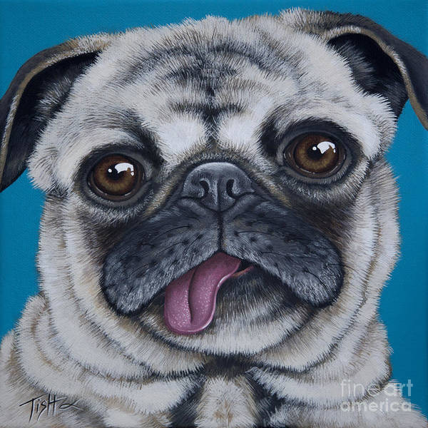Painting - Pug Portrait by Tish Wynne