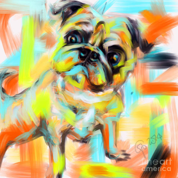 Painting - Pug Rocky by Go Van Kampen