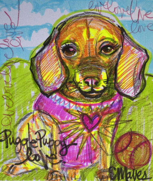 Painting - Puggle Puppy Love by Laurie Maves ART