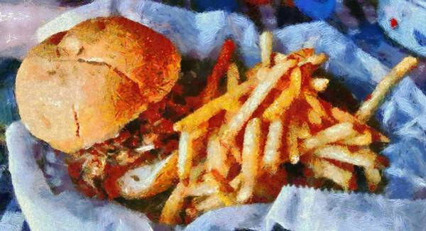 Bbq Digital Art - Pulled Pork Sandwich And French Fries by Dan Sproul