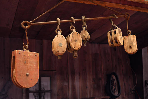 Toolshed Wall Art - Photograph - Pulleys by Mike Flynn