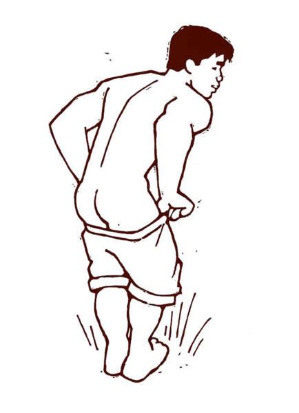 Wall Art - Painting - Pulling Up His Shorts by Douglas Simonson