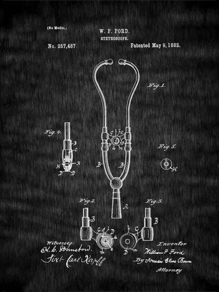 Digital Art - Pulse - Heart - 1882 Ford Stethoscope Patent by Barry Jones