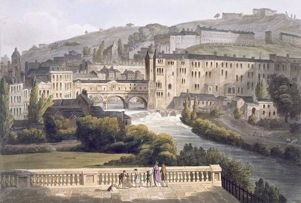 Wall Art - Drawing - Pulteney Bridge, From Bath Illustrated by John Claude Nattes