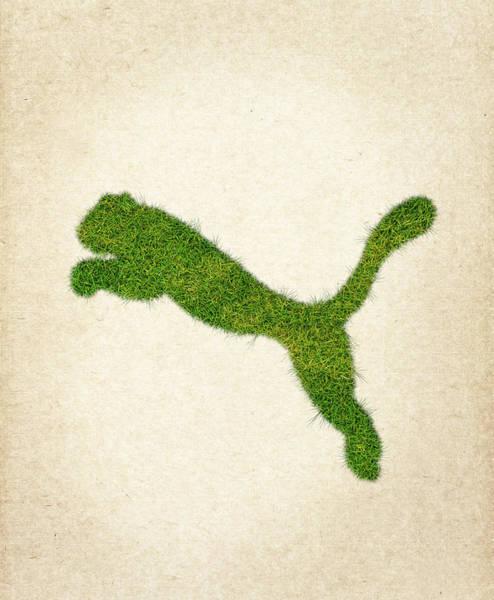 Wall Art - Digital Art - Puma Grass Logo by Aged Pixel