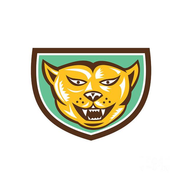 Mountain Lion Digital Art - Puma Mountain Lion Head Shield Woodcut by Aloysius Patrimonio