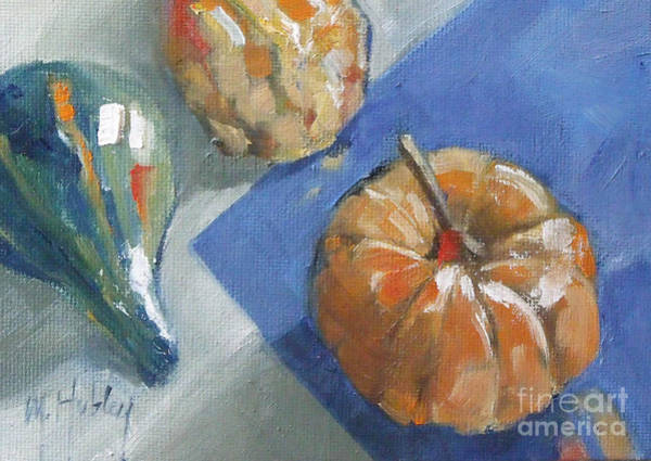 Winter Squash Painting - Pumpkin And Gourds Still Life by Mary Hubley