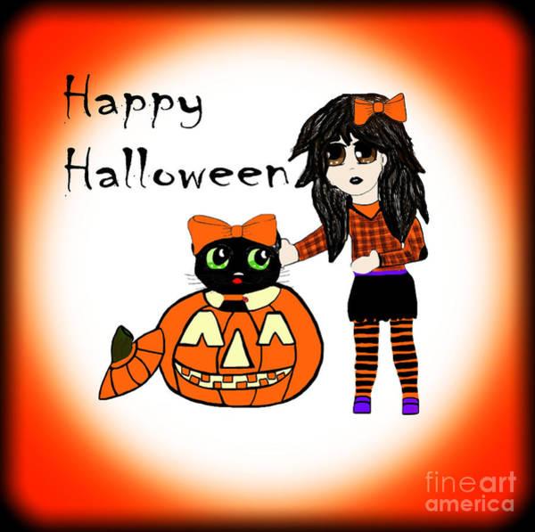 Wall Art - Photograph - Pumpkin And Halloween Cat by Eva Thomas