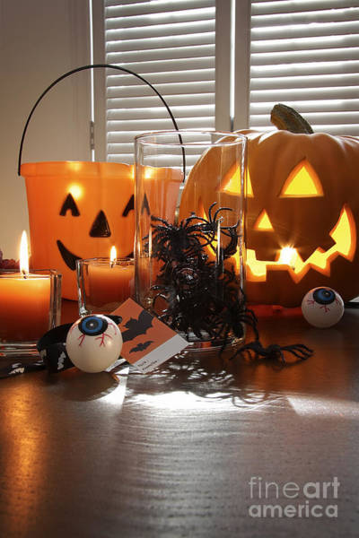 Photograph - Pumpkin Candles And Spiders In A Jar For Halloween by Sandra Cunningham