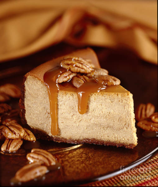 Cheese Cake Wall Art - Photograph - Pumpkin Cheese Cake With Pecans And Caramel Sauce by Iris Richardson