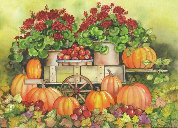 Red Wagon Painting - Pumpkin Display by Kathleen Parr Mckenna