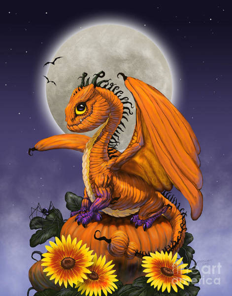 Dragon Digital Art - Pumpkin Dragon by Stanley Morrison