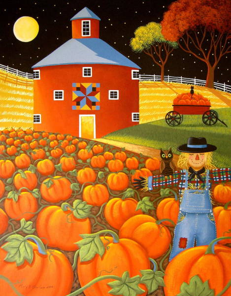 Barn Owl Painting - Pumpkin Harvest by Mary Charles