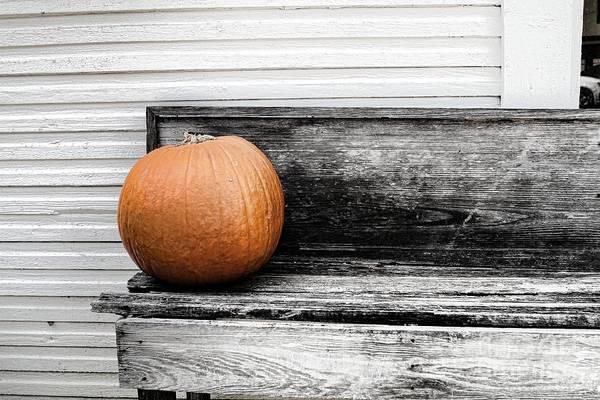 Pumpkin On A Bench Art Print by Audreen Gieger
