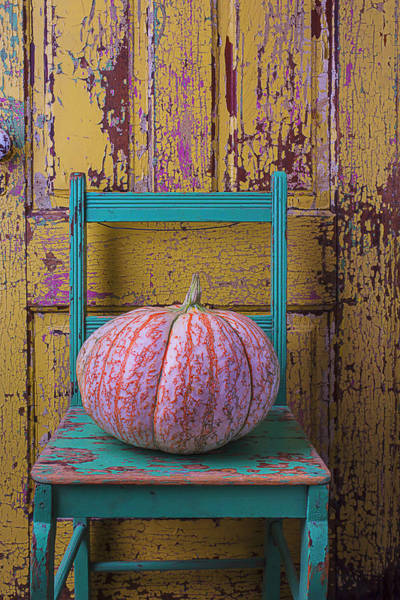 Paint Chips Photograph - Pumpkin On Green Chair by Garry Gay